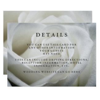 Elegant White Rose Wedding Guest Details Card