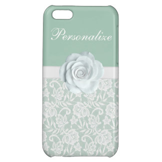 Elegant White Roses & Lace Mint Green iPhone 5C Cases