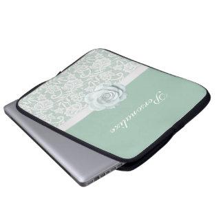 Elegant White Roses & Lace Mint Green Laptop Sleeve