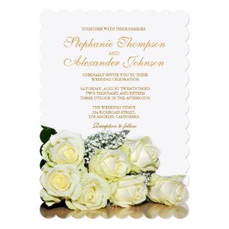 Elegant White Roses Wedding Invitation