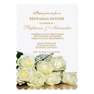 Elegant White Roses Wedding Rehearsal Dinner Card 13 Cm X 18 Cm Invitation Card