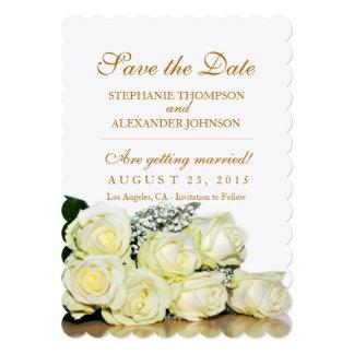 Elegant White Roses Wedding Save the Date Card 13 Cm X 18 Cm Invitation Card