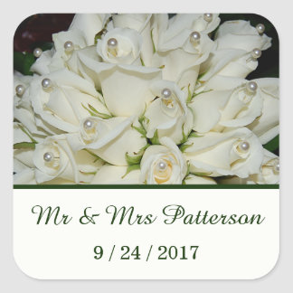 Elegant White Roses Wedding Square Sticker