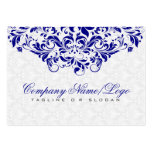 Elegant White & Royal Blue Damasks & Swirls Business Card Template
