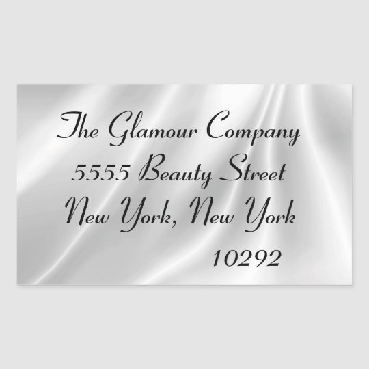 Elegant White Satin Rectangular Sticker