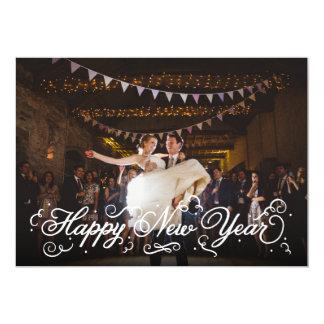 Elegant White Script Happy New Year Photo Card 13 Cm X 18 Cm Invitation Card