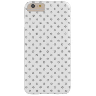 Elegant White Silver Glitter Polka Dots Pattern Barely There iPhone 6 Plus Case
