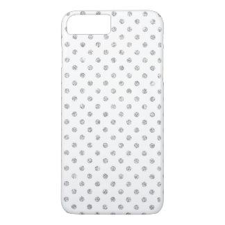 Elegant White Silver Glitter Polka Dots Pattern iPhone 7 Plus Case
