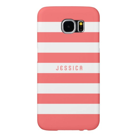 Elegant White Stripes And Coral-Red Background Samsung Galaxy S6 Cases