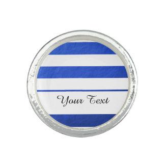 Elegant White Stripes Blue Foil Printed Rings