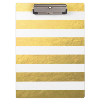 Elegant White Stripes Gold Foil Printed Clipboard
