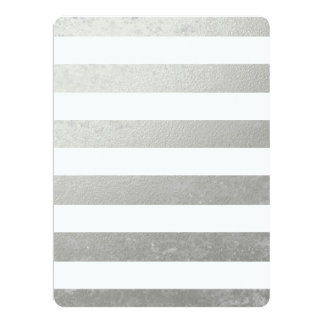 Elegant White Stripes Silver Foil Printed 17 Cm X 22 Cm Invitation Card