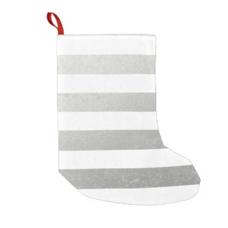 Elegant White Stripes Silver Foil Printed Small Christmas Stocking