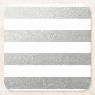 Elegant White Stripes Silver Foil Printed Square Paper Coaster