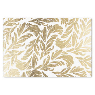 Elegant white stylish faux gold floral damask tissue paper
