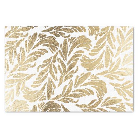Elegant white stylish faux gold floral damask tissue