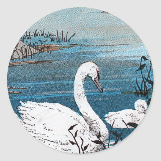 Elegant White Swan With Baby Classic Round Sticker