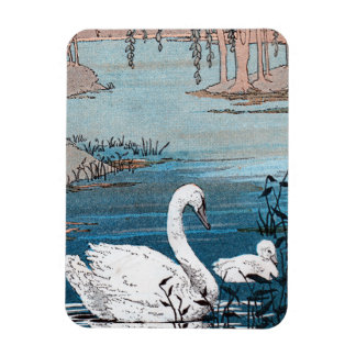 Elegant White Swan With Baby Rectangle Magnets