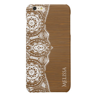 Elegant White Tribal Lace On Brown Wood Texture iPhone 6 Plus Case