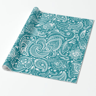 Elegant White & Turquoise Blue Floral Paisley Wrapping Paper