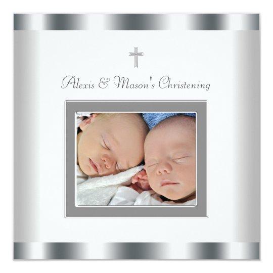 Elegant White Twins Photo Christening Invitations