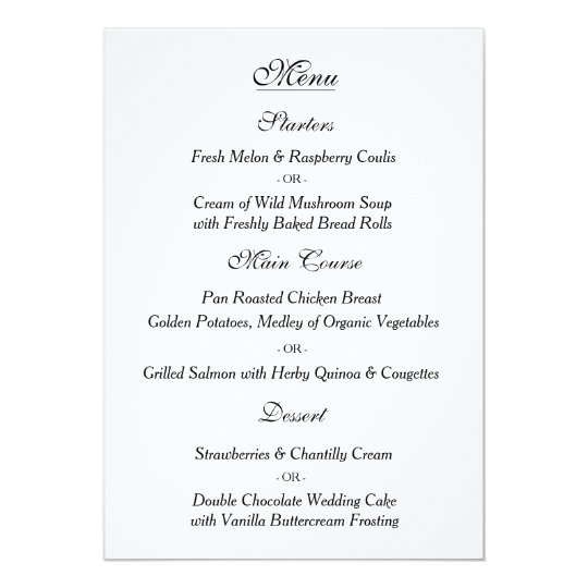 Elegant White Wedding Menu Card