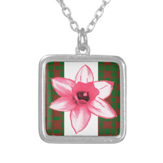 Elegant Wild Exotic Cactus Flower on Shirts  GiftS Square Pendant Necklace