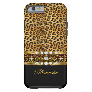 Elegant Wild Leopard Black Gold Jewel 2 Tough iPhone 6 Case