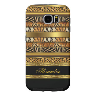 Elegant Wild Mixed Animal Black and Gold Samsung Galaxy S6 Cases