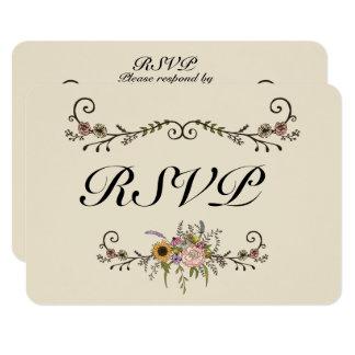 """Elegant Wildflower Wedding RSVP Matte 3.5"""" x 5"""" Card"""