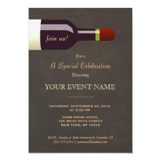 Elegant Wine Bottle, Wine Tasting Party 13 Cm X 18 Cm Invitation Card