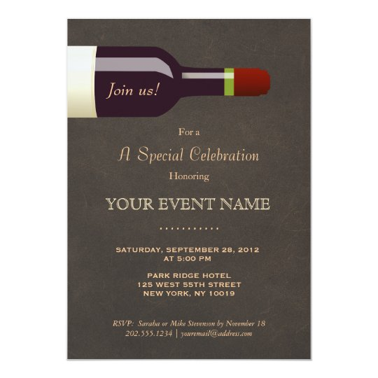 Elegant Wine Bottle, Wine Tasting Party Card