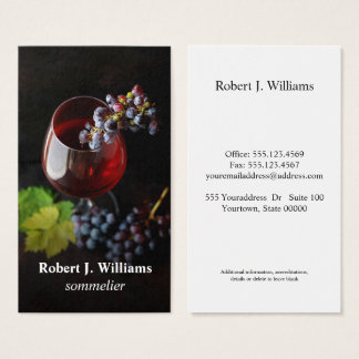 Elegant Wine Glass Grapes sommeliere professional Business Card