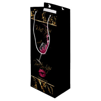Elegant Wine Sips and Pretty Lips - Thank You Wine Gift Bag
