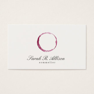 Elegant Wine Stain Sommelier Business Card