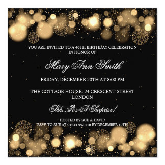 Elegant Winter 40th Birthday Party Gold 13 Cm X 13 Cm Square Invitation Card