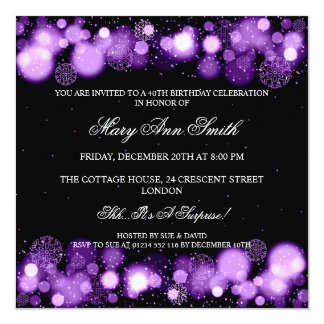 Elegant Winter 40th Birthday Party Purple 13 Cm X 13 Cm Square Invitation Card