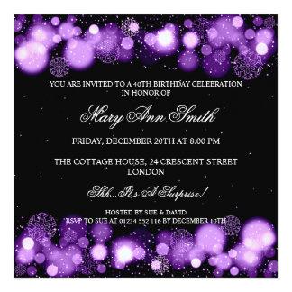 Elegant Winter 40th Birthday Party Purple Card