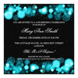 Elegant Winter 40th Birthday Party Turquoise 5.25x5.25 Square Paper Invitation Card