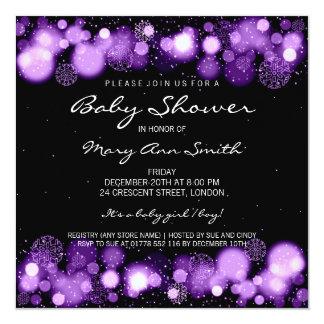 Elegant Winter Baby Shower Purple 5.25x5.25 Square Paper Invitation Card