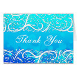 Elegant Winter Blue Flourishes Thank You Card