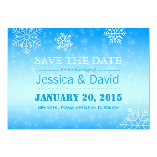 Elegant Winter Blue Snowflakes Save the Date 13 Cm X 18 Cm Invitation Card