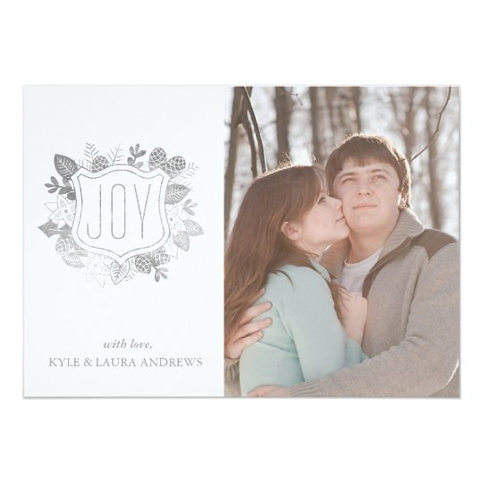 Elegant Winter Foliage Faux Silver Foil Photo Card