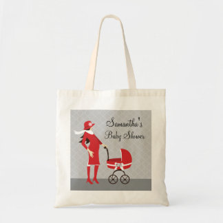 Elegant Winter Gray and Red Baby Shower Tote Bag