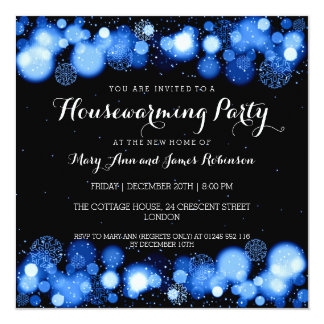 Elegant Winter Housewarming Party Blue 13 Cm X 13 Cm Square Invitation Card