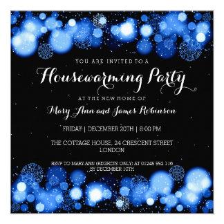 Elegant Winter Housewarming Party Blue Announcement