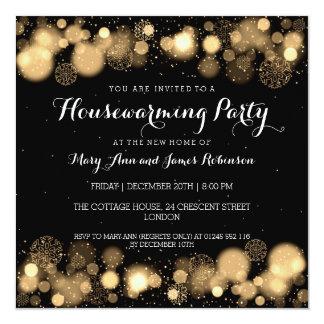 Elegant Winter Housewarming Party Gold 13 Cm X 13 Cm Square Invitation Card