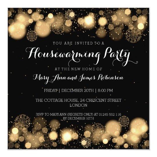 Elegant Winter Housewarming Party Gold Card