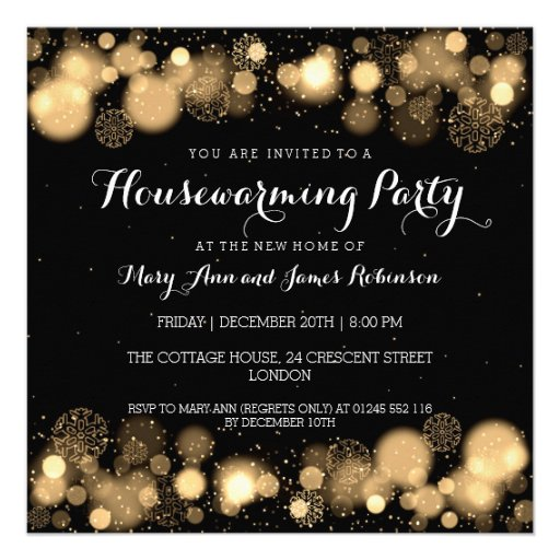 Elegant Winter Housewarming Party Gold Personalized Invitations