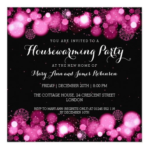 Elegant Winter Housewarming Party Pink Invites